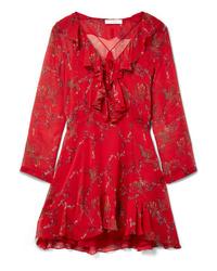 Vestido recto con print de flores rojo de IRO