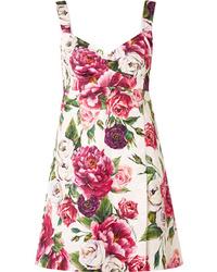 Vestido recto con print de flores rosado de Dolce & Gabbana