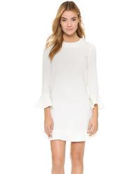 Vestido recto con volante blanco