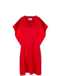 Vestido recto con volante rojo de MM6 MAISON MARGIELA