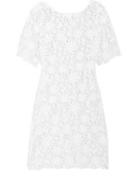 Vestido recto de crochet blanco de Miguelina
