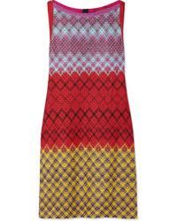 Vestido recto de crochet de punto rojo de Missoni