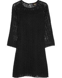 Vestido recto de crochet negro
