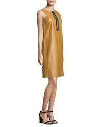 Vestido recto de cuero marrón claro