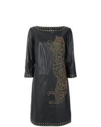 Vestido recto de cuero negro de Cavalli Class