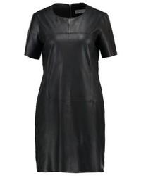 Vestido Recto de Cuero Negro de Liebeskind