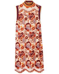 Vestido recto de encaje con print de flores naranja de Burberry