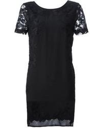Vestido recto de encaje negro