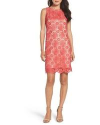 Vestido recto de encaje rosa