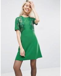Vestido Recto de Encaje Verde de Asos