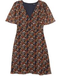 Vestido recto de gasa con print de flores marrón de Madewell