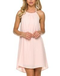 Vestido recto de gasa rosado