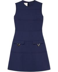 Vestido recto de lana con adornos azul marino de Valentino