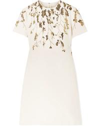 Vestido recto de lana con adornos en beige de Valentino