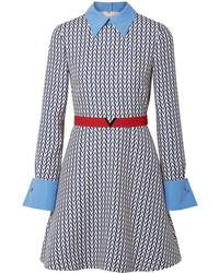 Vestido recto de lana estampado azul de Valentino