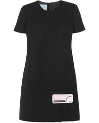 Vestido recto de lana negro de Prada