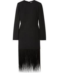Vestido recto de lana сon flecos negro de Givenchy