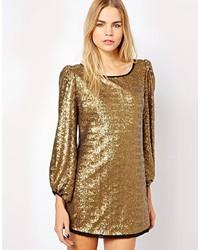 Vestido recto de lentejuelas dorado de S.y.l.k