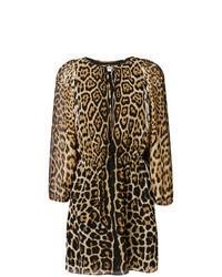 Vestido recto de leopardo marrón claro
