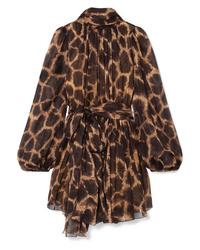 Vestido recto de leopardo marrón de Dolce & Gabbana