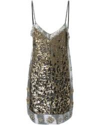 Vestido recto de leopardo plateado