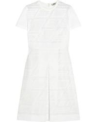 Vestido recto de malla blanco de Fendi