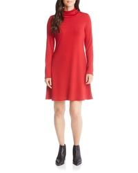 Vestido recto de punto rojo