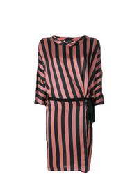 Vestido recto de rayas verticales rosado de Ann Demeulemeester