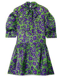 Vestido recto de seda con print de flores verde de Miu Miu