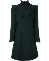 Vestido recto de seda con volante negro de Fendi