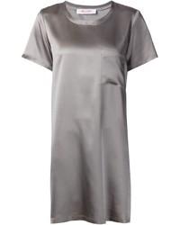 Vestido recto de seda gris