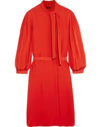 Vestido recto de seda rojo de Joseph
