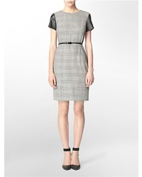 Vestido recto de tartán gris