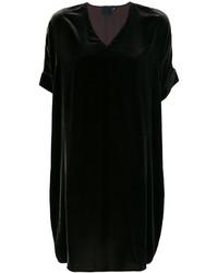 Vestido recto de terciopelo negro de Aspesi