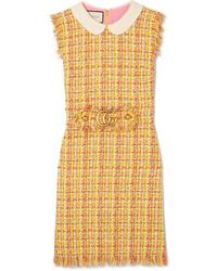 Vestido recto de tweed amarillo de Gucci