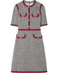Vestido recto de tweed con adornos gris de Gucci