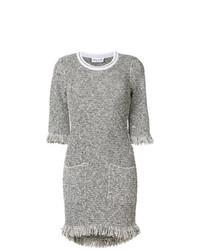 Vestido recto de tweed gris