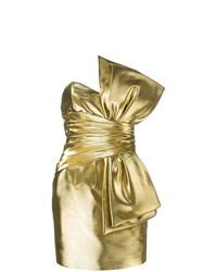Vestido recto dorado de Saint Laurent