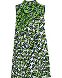 Vestido recto estampado verde de Miu Miu