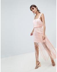 Vestido recto сon flecos rosado de ASOS DESIGN