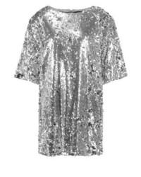 Vestido recto plateado de Missguided