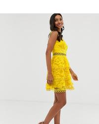 Vestido skater con print de flores amarillo de ASOS DESIGN