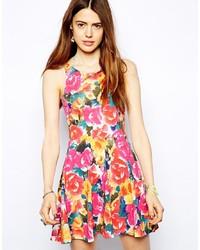 Vestido skater con print de flores en multicolor de MinkPink