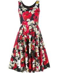 Vestido skater con print de flores rojo de Dolce & Gabbana