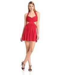 Vestido skater con recorte rojo