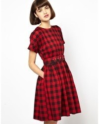 Vestido skater de tartán rojo de Antipodium