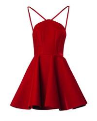 Vestido skater de terciopelo rojo