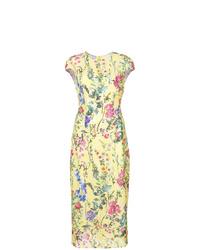 Vestido tubo con print de flores amarillo de Monique Lhuillier