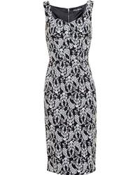Vestido tubo con print de flores en blanco y negro de Dolce & Gabbana
