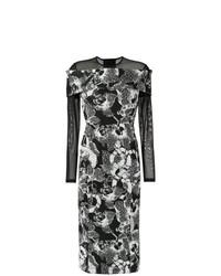 Vestido tubo con print de flores en negro y blanco de Tufi Duek
